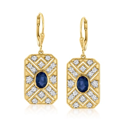 1.80 ct. t.w. Sapphire and 1.30 ct. t.w. White Topaz Drop Earrings in 18kt Gold Over Sterling