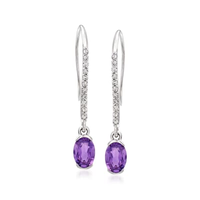 C. 1980 Vintage 1.50 ct. t.w. Amethyst and .30 ct. t.w. Diamond Drop Earrings in 14kt White Gold