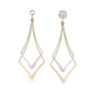 14kt Two-Tone Gold Open-Space Double Kite-Shaped Earring Jackets