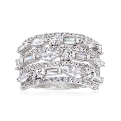 2.68 ct. t.w. CZ Multi-Row Ring in Sterling Silver