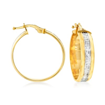 Italian 18kt Two-Tone Gold Greek Key Hoop Earrings