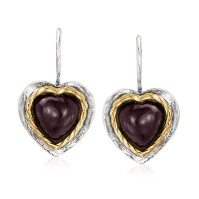 8.00 ct. t.w. Garnet Heart Drop Earrings in Sterling Silver and 14kt Yellow Gold