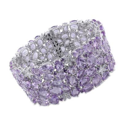 101.45 ct. t.w. Amethyst and .48 ct. t.w. Diamond Bracelet in 14kt White Gold