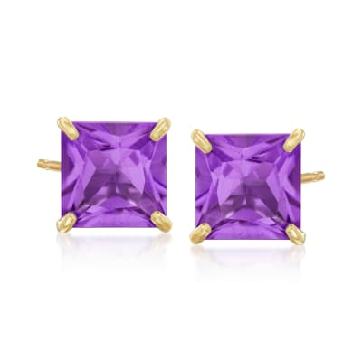 3.40 ct. t.w. Amethyst Square Stud Earrings in 14kt Yellow Gold