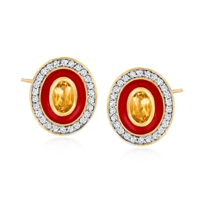 .90 ct. t.w. Citrine and .70 ct. t.w. White Zircon Earrings with Red Enamel in 18kt Gold Over Sterling