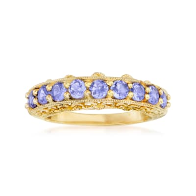 1.00 ct. t.w. Tanzanite Ring in 18kt Gold Over Sterling