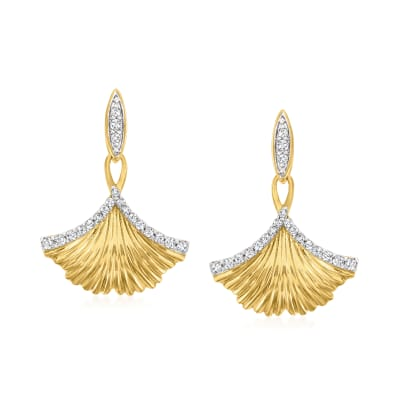 .23 ct. t.w. Diamond Ginko Leaf Drop Earrings in 18kt Gold Over Sterling