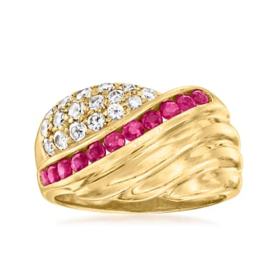 C. 1980 Vintage .70 ct. t.w. Ruby and .50 ct. t.w. Diamond Ring in 14kt Yellow Gold