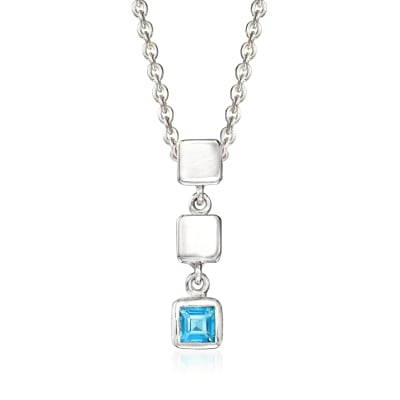 "Zina Sterling Silver ""Ice Cube"" .20 Carat Blue Topaz Drop Pendant Necklace"