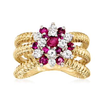 C. 1980 Vintage 1.05 ct. t.w. Ruby Ring with .50 ct. t.w. Diamonds in 14kt Yellow Gold
