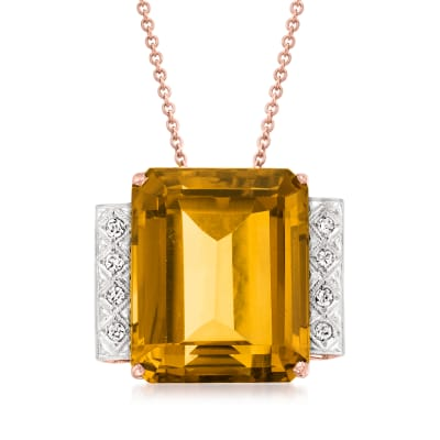 C. 1950 Vintage 40.25 Carat Citrine Pendant Necklace with .25 ct. t.w. Diamonds in 14kt Rose Gold
