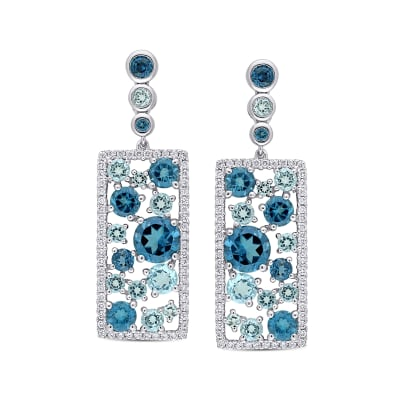 6.55 ct. t.w. London and Sky Blue Topaz Drop Earrings with .58 ct. t.w. Diamonds in 14kt White Gold