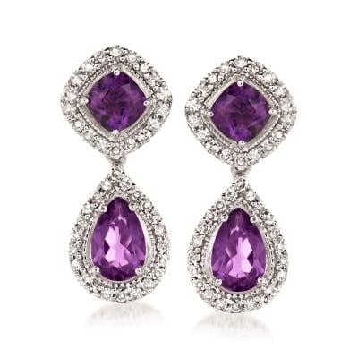 1.80 ct. t.w. Amethyst and .34 ct. t.w. Diamond Drop Earrings in Sterling Silver