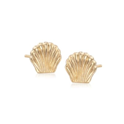 14kt Yellow Gold Seashell Stud Earrings