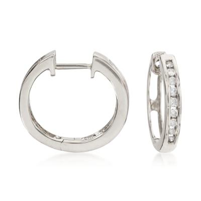 .25 ct. t.w. Diamond Hoop Earrings in 14kt White Gold