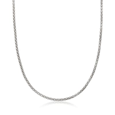 Italian 2.5mm Sterling Silver Popcorn Chain Necklace