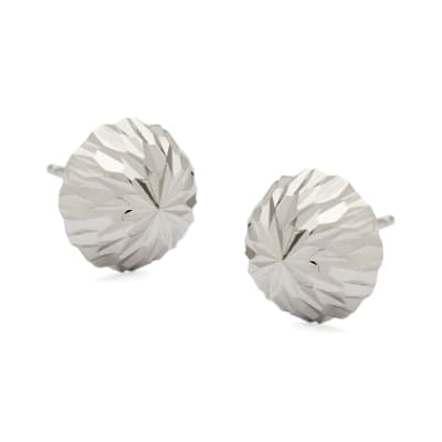 10mm 14kt White Gold Diamond-Cut Dome Ball Earrings