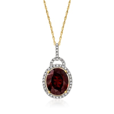 5.00 Carat Garnet and .23 ct. t.w. Diamond Pendant Necklace in 14kt Yellow Gold