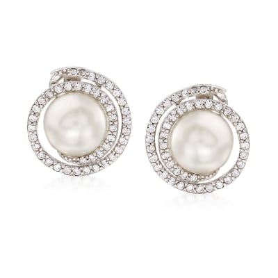 "Belle Etoile ""Thea"" Simulated Pearl and .84 ct. t.w. CZ Swirl Earrings in Sterling Silver"