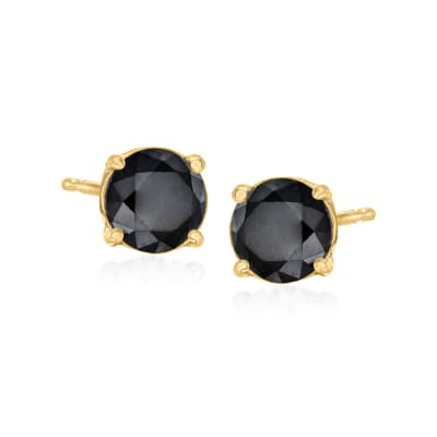 1.00 ct. t.w. Black Diamond Stud Earrings in 14kt Yellow Gold