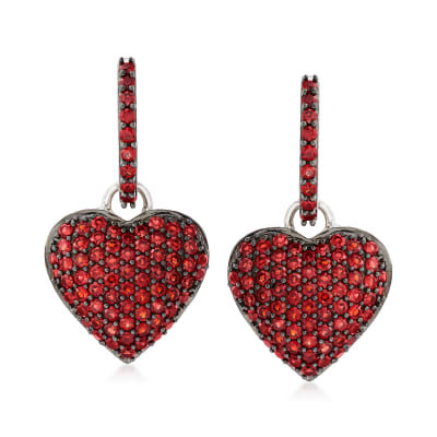 2.40 ct. t.w. Garnet Heart Cluster Drop Earrings in Sterling Silver