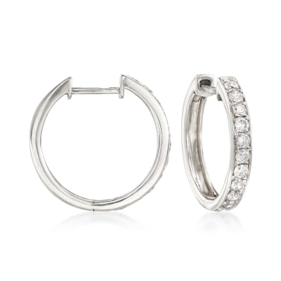 .50 ct. t.w. Diamond Hoop Earrings in 14kt White Gold
