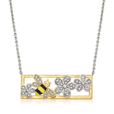 .14 ct. t.w. Diamond Bumblebee and Flower Necklace with Multicolored Enamel in 18kt Gold Over Sterling
