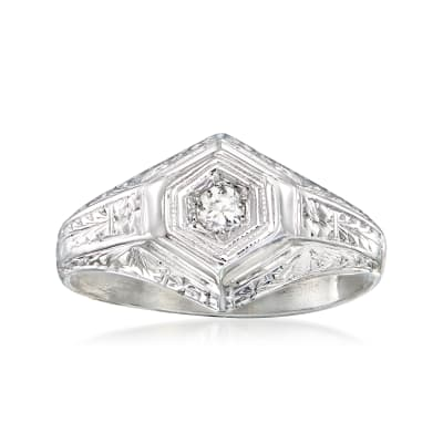 C. 1950 Vintage .10 Carat Diamond Ring in 18kt White Gold