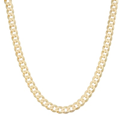 Italian Men's 8.4mm 18kt Gold Over Sterling Curb-Link Chain