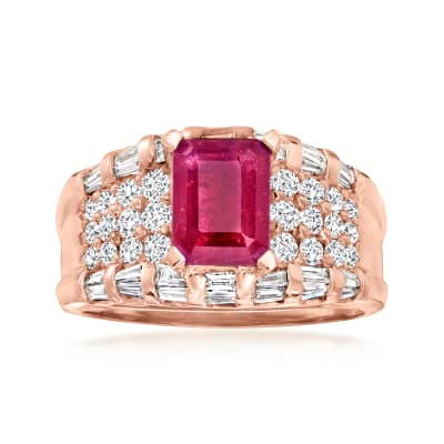 1.75 Carat Ruby 1.13 ct. t.w. Diamond Ring in 14kt Rose Gold