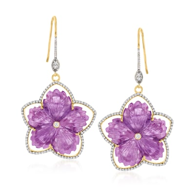 25.00 ct. t.w. Amethyst and 1.40 ct. t.w. White Topaz Floral Drop Earrings in 18kt Gold Over Sterling