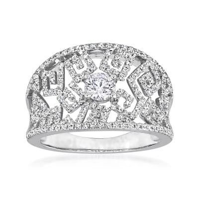 .98 ct. t.w. Diamond Openwork Ring in 14kt White Gold