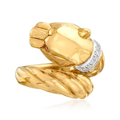 "Phillip Gavriel ""Italian Cable"" Panther Ring with Diamond Accents in 14kt Yellow Gold"