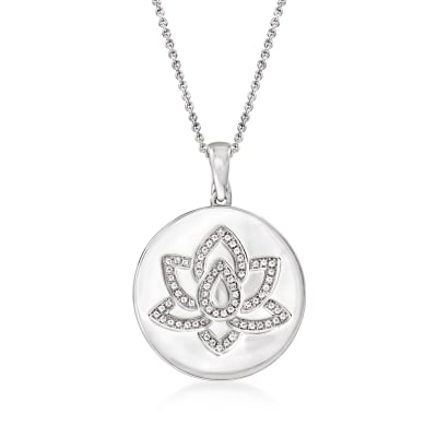 .30 ct. t.w. White Topaz Lotus Pendant Necklace in Sterling Silver