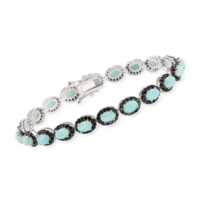 Larimar and 3.00 ct. t.w. Black Spinel Bracelet in Sterling Silver