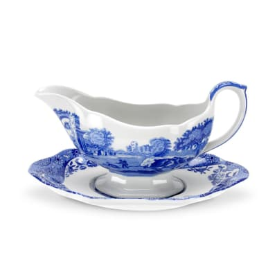 """Spode """"Blue Italian"""" Gravy Boat and Stand"""