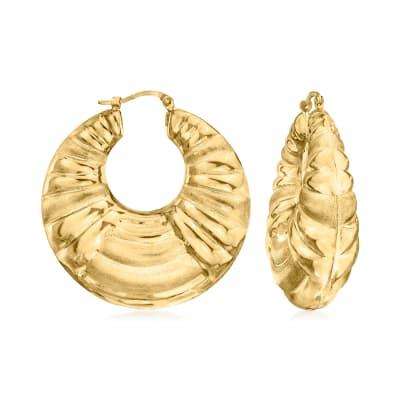 C. 1990 Vintage 14kt Yellow Gold Fluted Hoop Earrings