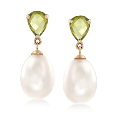 1.90 ct. t.w. Peridot and 10-10.5mm Cultured Pearl Drop Earrings in 14kt Yellow Gold