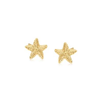 Child's 14kt Yellow Gold Starfish Stud Earrings