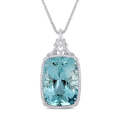 140.00 Carat Certified Sky Blue Topaz Pendant Necklace with 3.48 ct. t.w. Diamonds in 14kt White Gold