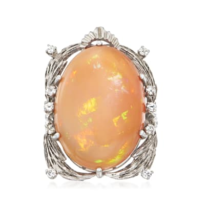 C. 1970 Vintage Pink Opal Ring with .25 ct. t.w. Diamonds in 10kt White Gold