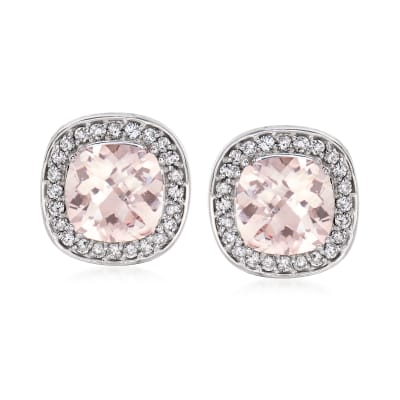 8.00 ct. t.w. Morganite and .96 ct. t.w. Diamond Earrings in 14kt White Gold