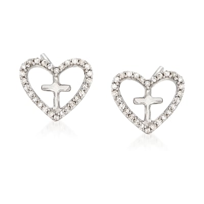 Diamond Accent Heart Cross Earrings in Sterling Silver