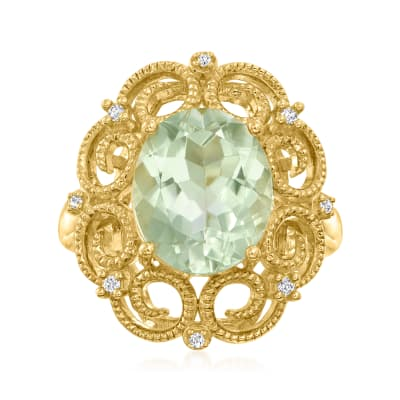 5.50 Carat Prasiolite Ring with Diamond Accents in 18kt Gold Over Sterling