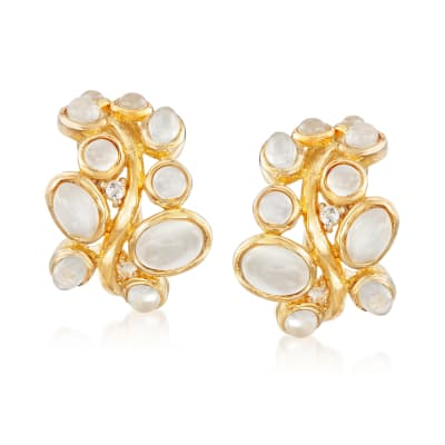 Moonstone and .10 ct. t.w. White Topaz Earrings in 18kt Gold Over Sterling