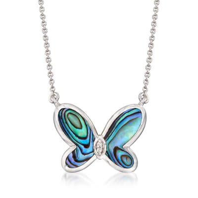 Abalone Shell Butterfly Necklace with Diamond Accents in Sterling Silver