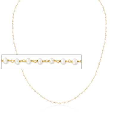 3-In-1 Small Cultured Pearl Necklace, Mask Holder and Eyeglass Chain in 18kt Gold Over Sterling
