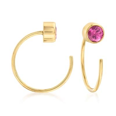 .40 ct. t.w. Pink Tourmaline C-Hoop Earrings in 14kt Yellow Gold