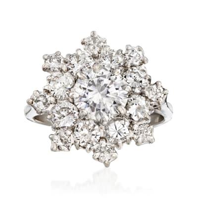 C. 1980 Vintage 3.15 ct. t.w. Diamond Snowflake Ring in 14kt White Gold