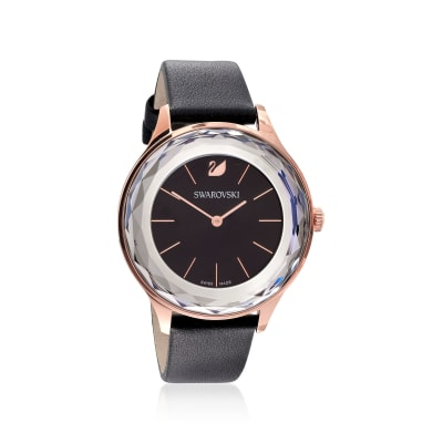 Swarovski Crystal Octea Nova Women's Rose Goldtone Stainless Watch with Black Crystal and Leather